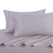 Twin, Lilac stripes, Bed Sheets Set, HOTEL LUXURY 300-Thread-Count Quality Plati