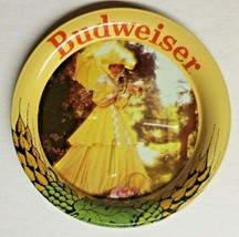 Vintage Budweiser Beer Anheuser Busch Lady in Yellow Metal Coasters  3.5... - $9.99