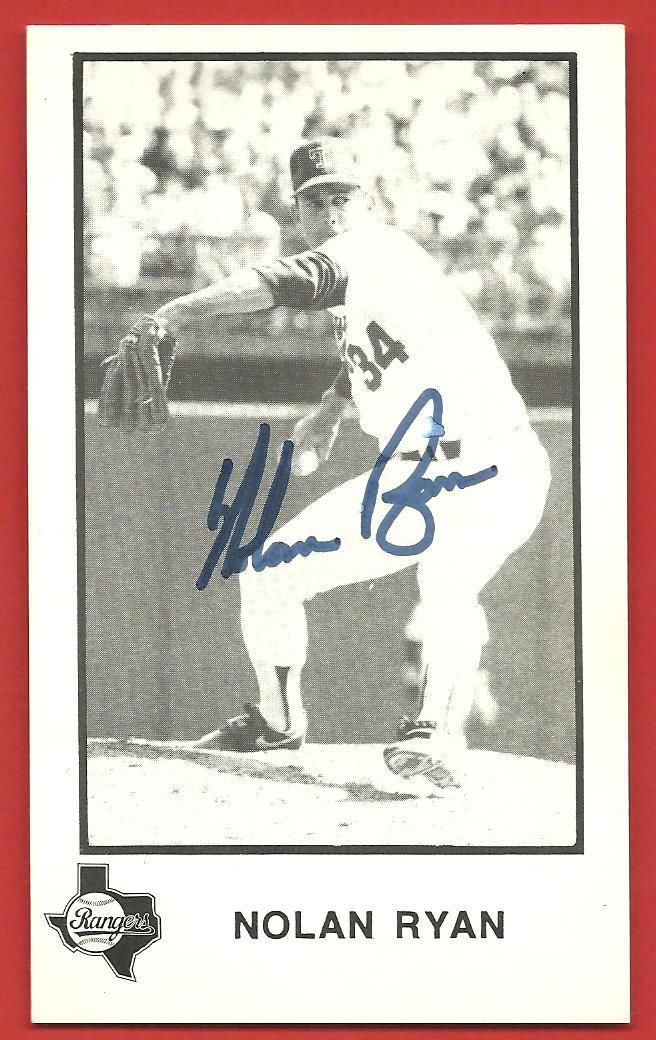 "NOLAN  RYAN   ORIGINAL   AUTOGRAPHED   TEAM  ISSUE  CARD  "" 3 X ""5   RANGERS  !!"