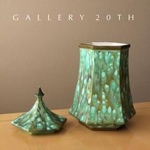 ART NOUVEAU!  BLUE GREEN GLAZE POTTERY! PORCELAIN CONTAINER VASE MID CEN... - $500.00