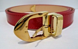 "LOUIS VUITTON Red Vernis Leather Monogram 3/4"" Wide Belt RI1016 - 80/32 ... - $395.99"