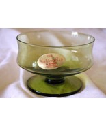 Seneca Glass Fashionables Moss Green Low Sherbet 1974 - $8.99