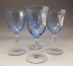Blue Small Wine Glass Optic Goblets Glasses Lot 4 - $18.81