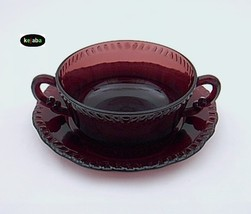 Paden City Gadroon Amethyst Cream Soup Bowl And Liner - $35.00