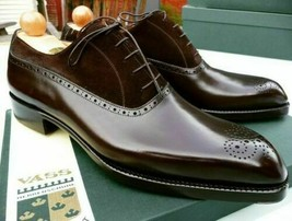 Men's Oxford Suede Leather Medallion Toe Formal Dress Party Wear Lace up... - $139.99