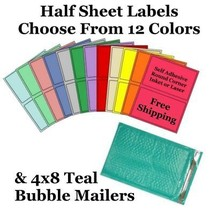 4x8 ( Teal ) Poly Bubble Mailers + Half Sheet Self Adhesive Shipping Labels - $1.99+