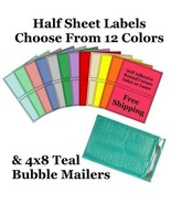 4x8 ( Teal ) Poly Bubble Mailers + Half Sheet Self Adhesive Shipping Labels - $2.99+