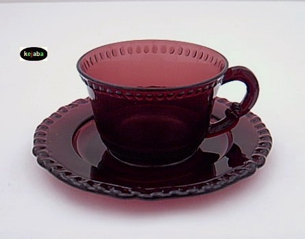 Paden City Gadroon Amethyst Cup And Saucer