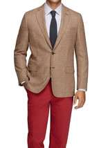 Brooks Brothers Brown Houndstooth Fitzgerald Wool Silk Soft Blazer Sz 41... - $296.99
