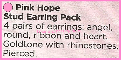 Breast Cancer Pink Hope Stud Earring Pack fo Four Goldtone Earrings 2018 image 2