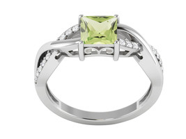 Amazing Peridot and CZ Gemstone 925 Silver Wedding Ring US Size 7 SHRI1140 - £17.30 GBP