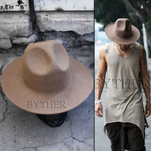 ByTheR Mens Fashion Modern Classic Wool Felt Chic Mountain Fedora Casual... - $35.83