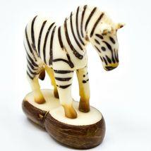 Hand Carved Tagua Nut Carving Zebra Figurine Made in Ecuador image 4