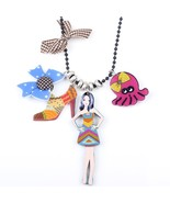 girl doll brand necklace pendant acrylic  2015 news accessories spring s... - $14.72