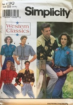 Simplicity 8190 Men's or Misses' Western Classics Set of Shirts Size BB ... - $6.99
