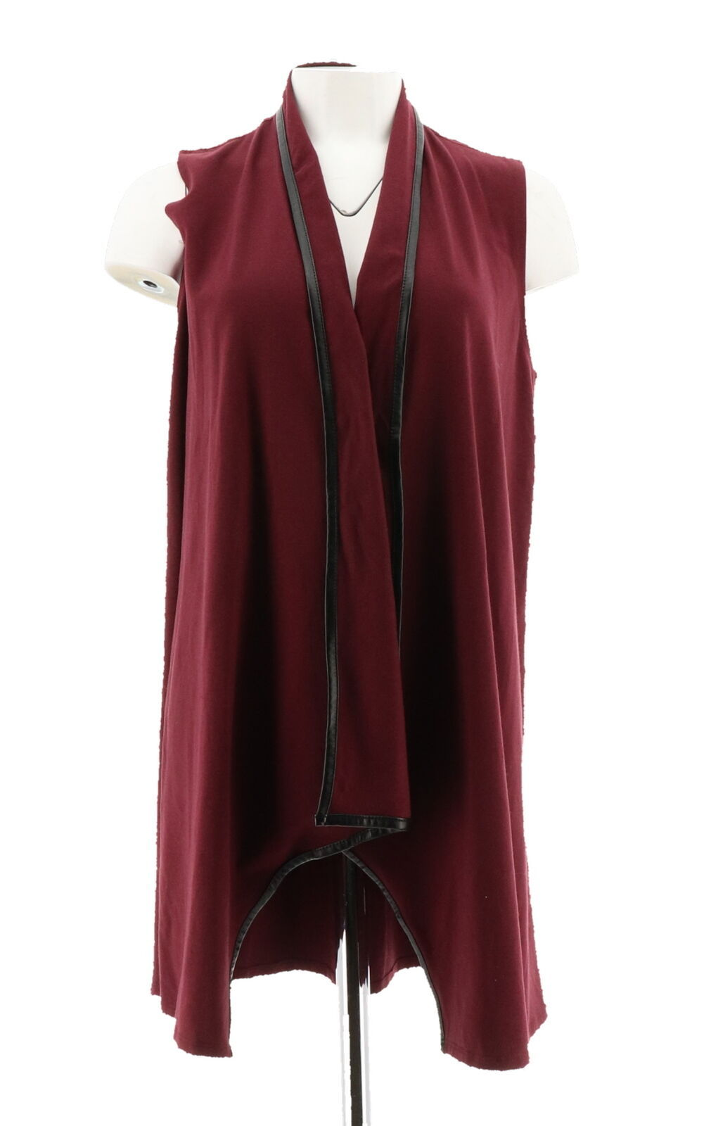 Women with Control Open Front Vest Faux Leather Trim Burgundy XS NEW A269620 - $29.68