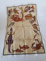 Linen Towel 1980 Collectible Calendar Sea Creatures - $7.99
