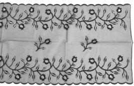 Table Runner Tablecloth Black Tulle Embroidery Pomegranate Sequins Shabbat  image 2