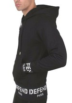 Defend Paris Sign Ribbon Zip-Thru Black White Logo Sweatshirt Hoodie MSRP $170 image 2