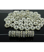 100P Czech Crystal Rhinestone Pewter Wavy Rondelle Spacer Beads 4mm 5mm ... - $3.01+
