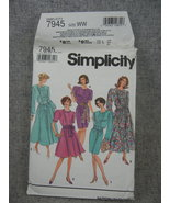Dress with full Skirt or slim skirt Misses 18 20 22 24 Simplicity 7945 UC FF - $8.00