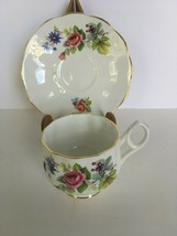 Rosina Fine Bone China Roses Tea Cup and Saucer Made in England Gold Rim... - $18.69