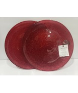AKCAM CHRISTMAS RED GLITTER SHIMMERING SALAD PLATES SET OF 2 - $21.99