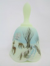 Vintage Fenton BELL VASELINE Custard Satin DEER IN THE WOODS 1979 7466NC... - $64.35