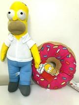 Set of 2 Large Homer+ Donut Plush Toys Simpsons.16''.Licensed.NEW.Christmas Gift - $27.43