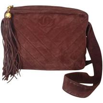 Vintage CHANEL dark brown V stitch suede leather shoulder bag with CC st... - $992.00