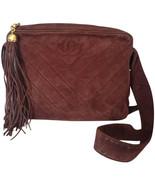 Vintage CHANEL dark brown V stitch suede leather shoulder bag with CC stitch mar - $992.00