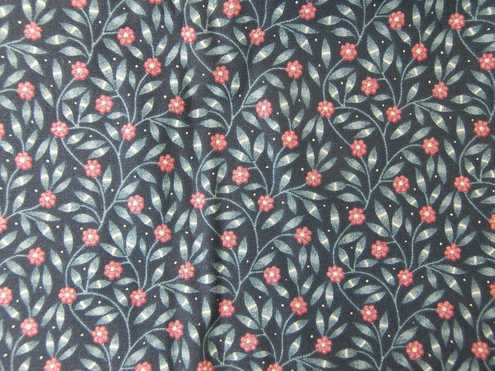 """COTTON FABRIC PIECE Blue and Red Flower Print 45"""" Wide x 1.5 Yards Long NEW"""
