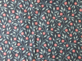 "COTTON FABRIC PIECE Blue and Red Flower Print 45"" Wide x 1.5 Yards Long NEW - $9.50"