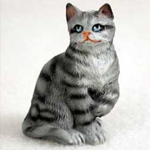 Shorthaired Silver Tabby Cat TINY ONES Figurine Statue Pet Resin - $8.99