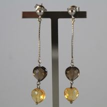 White Gold Earrings 750 18K, Hanging with Hearts Quartz Brown and Citrine image 3