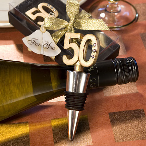 50th Anniversary Birthday Wine Bottle Stopper Favor Wedding Drink Party Barware - $6.58
