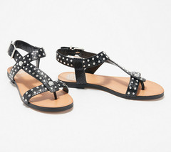 Vince Camuto Leather Studded Sandals Ravensa Black 6 M - $49.49
