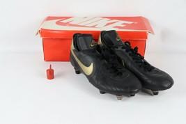 Vintage Anni 80 Nuova Nike Uomo 8.5 Hotspur pelle Calcio Tacchetti Scarpe Nero - $150.67