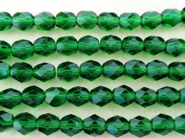 25 6mm Czech Fire Polished Beads - Green Emerald - $1.46