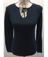 Banana Republic Sweater Blouse Lace Collar M Black Women 100% Cotton - $18.43