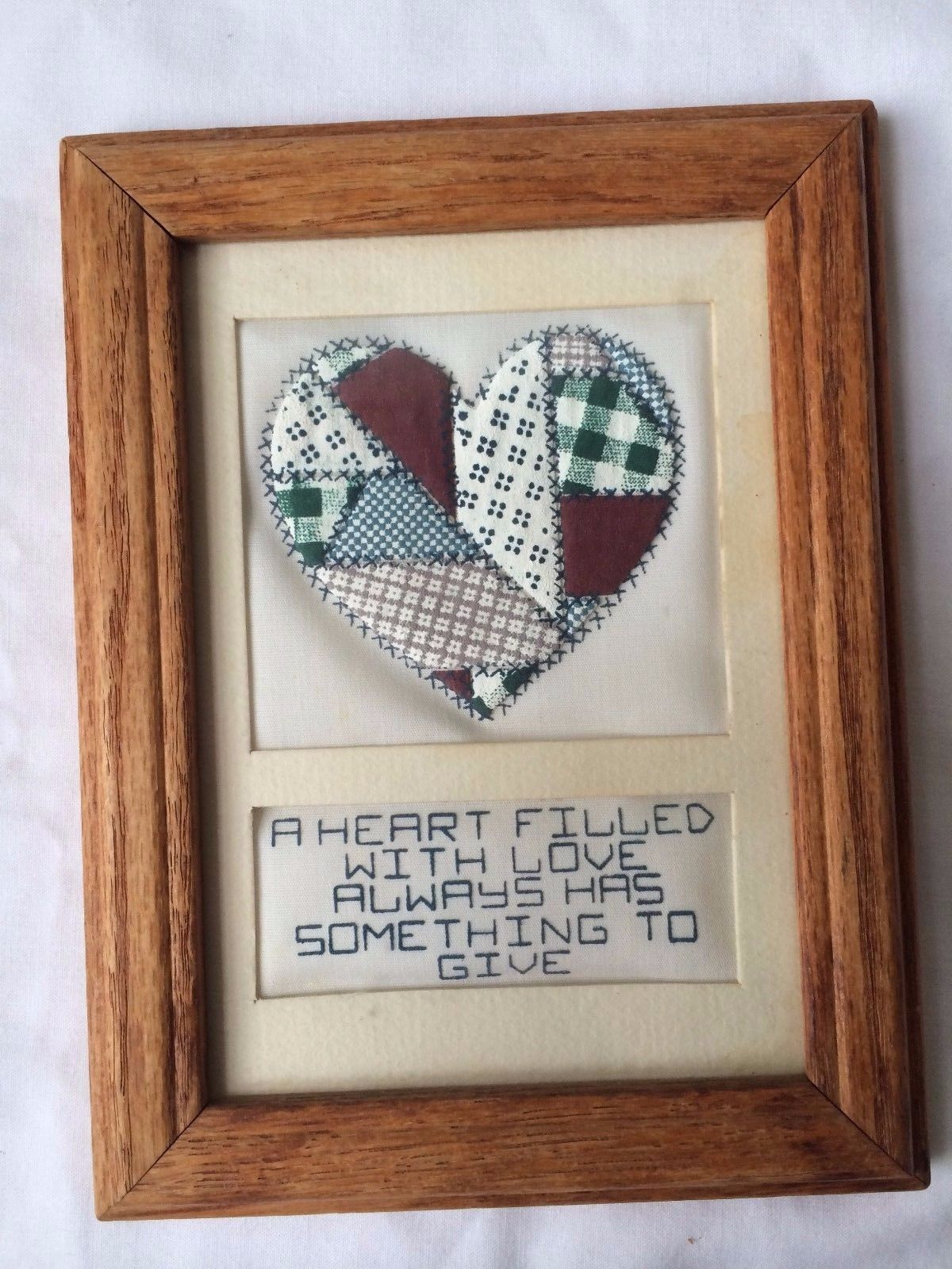 "Primary image for VTG Handmade Fabric Patch Quilt  Wood Framed ""A Heart Filled with Love Always """