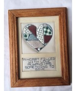 "VTG Handmade Fabric Patch Quilt  Wood Framed ""A Heart Filled with Love A... - $13.85"