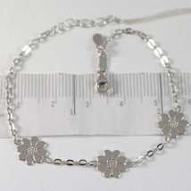 White Gold Bracelet 750 18K With Three Daisies, Flowers, Length 18 CM image 1