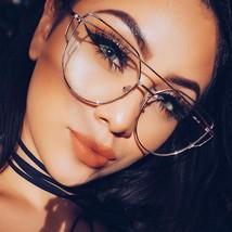 Cat Eye Glasses Frame Women Brand Designer Twin-Beam Metal Frame Clear E... - $9.98
