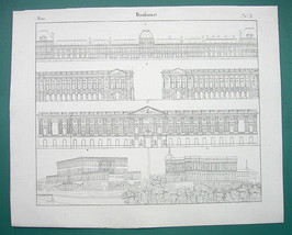 ARCHITECTURE Baroque Stockholm Royal Palace Louvre Madrid - 1825 Antique... - $8.55