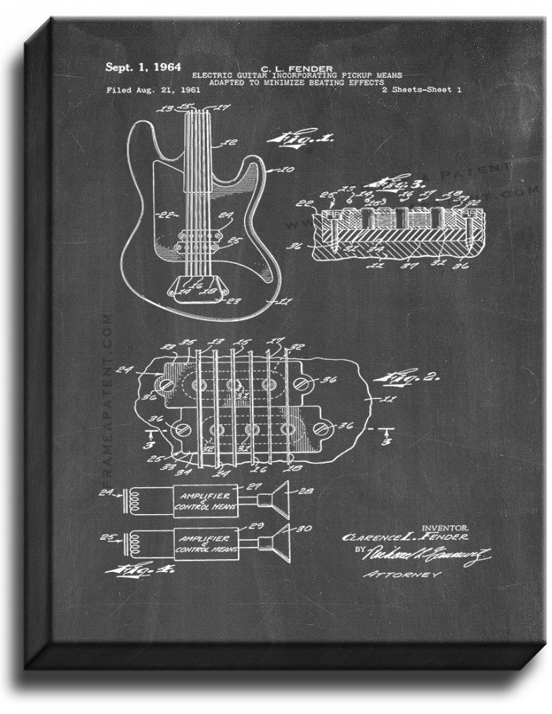 Primary image for Clarence Fender Electric Guitar Patent Print Chalkboard on Canvas