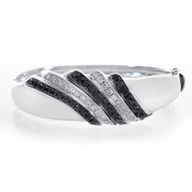 2.50 Carat Round Black Diamond Bangle Bracelet Brilliant 14K White Gold - $2,899.71
