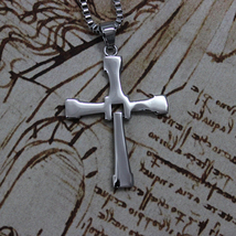 The Fast and The Furious Vin Diesel Titanium Steel Jesus Cross Pendant Necklace image 4