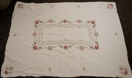 Vintage Tablecloth Cross Stitch Embroidered Flowers Crochet Rectangle 50x66 - $59.40