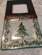 "Pfaltzgraff Winterberry Square Glass Platter Holiday Christmas Tree 14"" - $11.72"